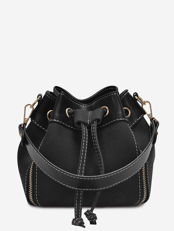 String PU Leather HandbagSHOES &amp; BAGS<br><br>Color: BLACK; Handbag Type: Totes; Style: Fashion; Gender: For Women; Pattern Type: Solid; Handbag Size: Mini(&lt;20cm); Closure Type: String; Occasion: Versatile; Main Material: PU; Weight: 0.4200kg; Package Contents: 1 x Handbag;