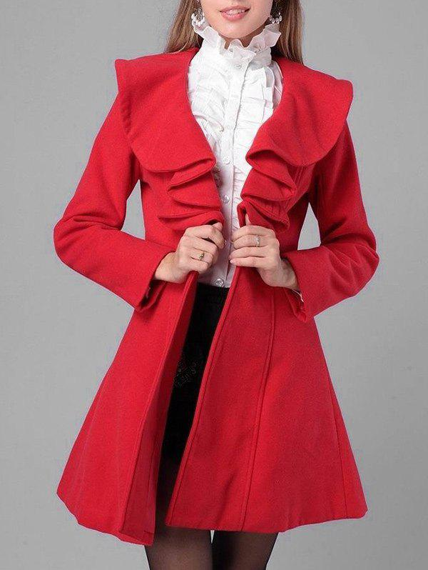Shop Felt Flounce Trim Dress Coat