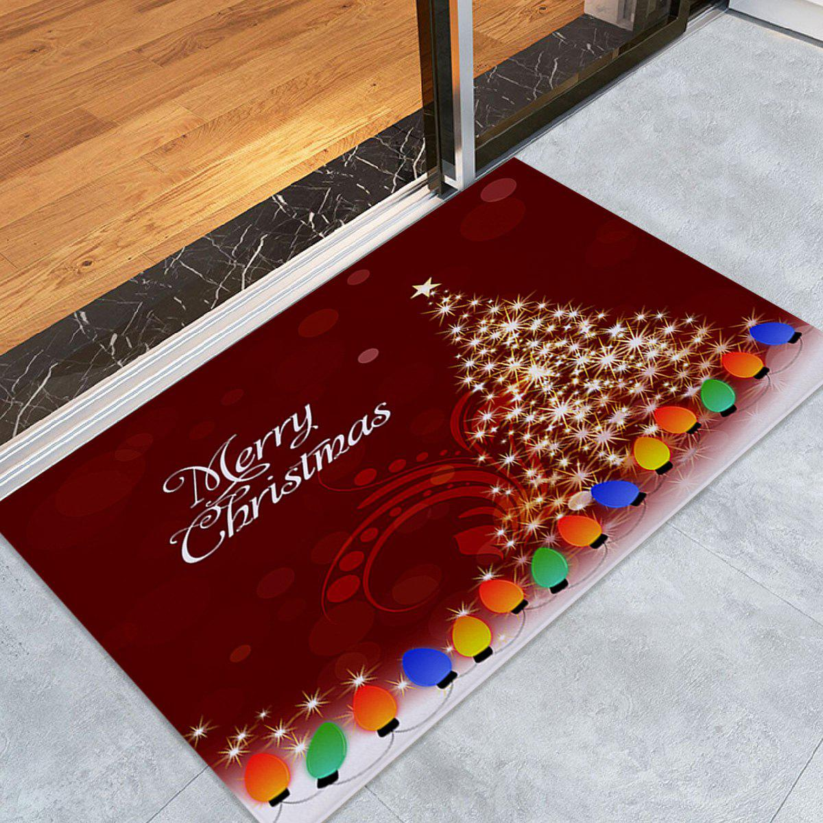 Sparkling Christmas Tree Print Skidproof Coral Fleece Bath RugHOME<br><br>Size: W16 INCH * L24 INCH; Color: DEEP RED; Products Type: Bath rugs; Materials: Coral FLeece; Pattern: Christmas Tree,Letter; Style: Festival; Shape: Rectangular; Package Contents: 1 x Rug;