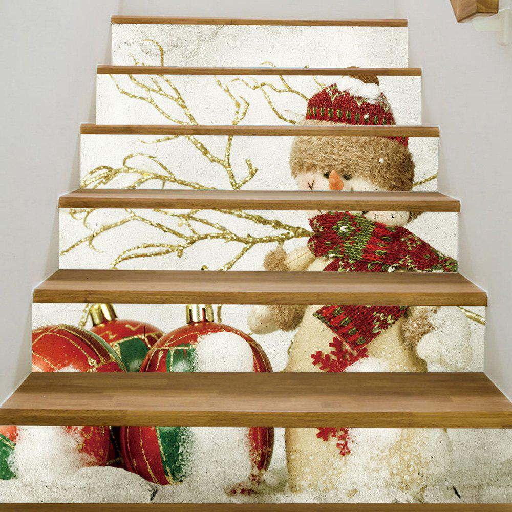 Christmas Baubles Snowman Pattern Decorative Stair StickersHOME<br><br>Size: 100*18CM*6PCS; Color: COLORMIX; Wall Sticker Type: Plane Wall Stickers; Functions: Stair Stickers; Theme: Christmas; Pattern Type: Ball,Snowman; Material: PVC; Feature: Removable; Weight: 0.3600kg; Package Contents: 1 x Stair Stickers;
