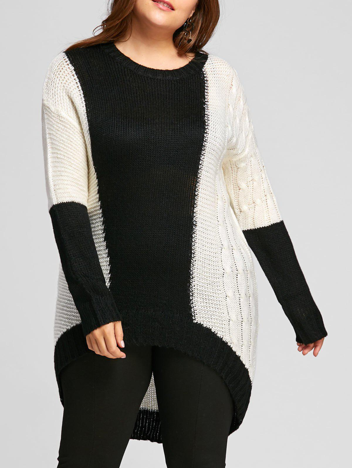 Cheap Plus Size Color Block  High Low Chunky Knit Sweater