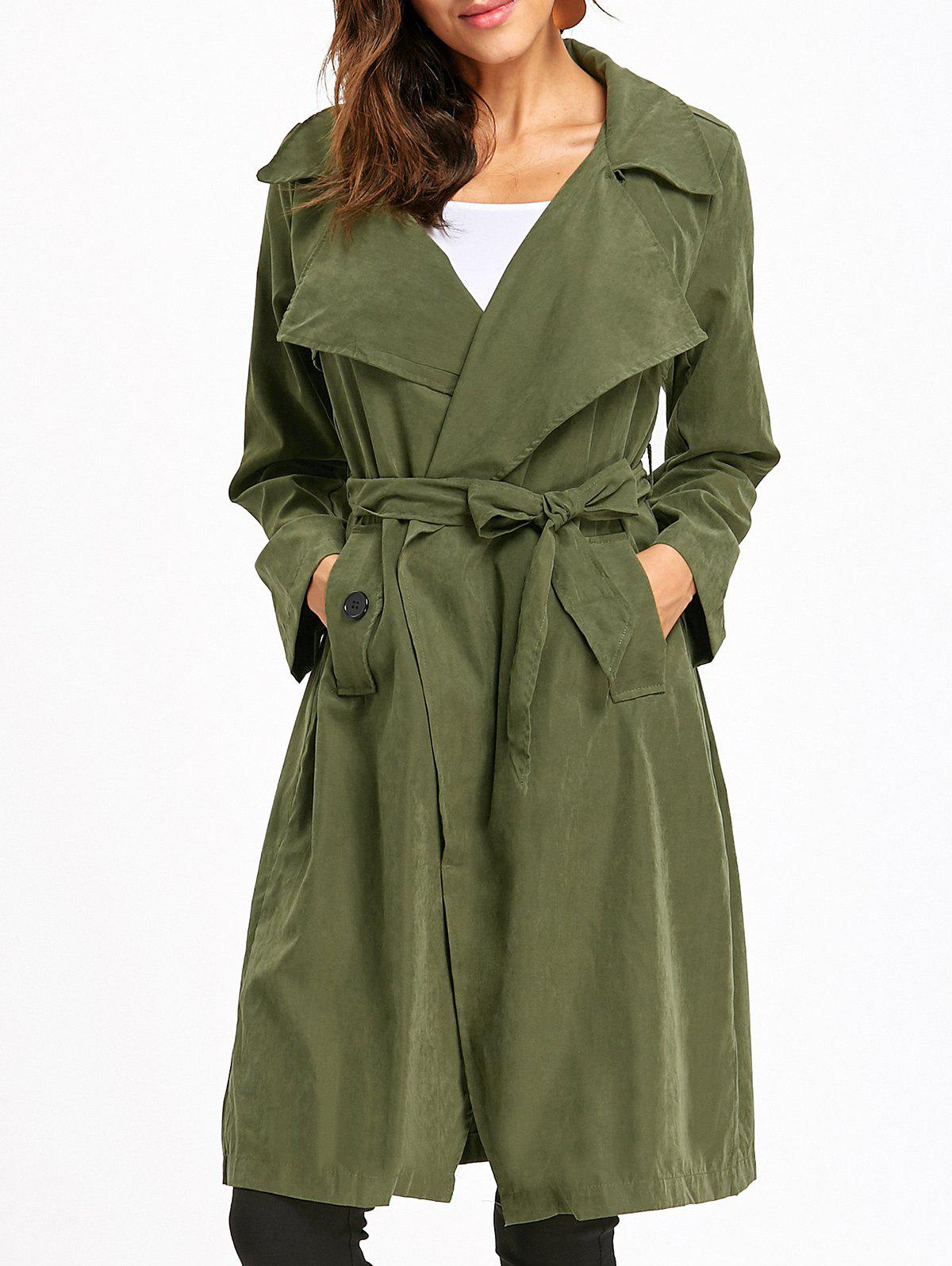 Back Slit Wrap Trench CoatWOMEN<br><br>Size: 2XL; Color: ARMY GREEN; Clothes Type: Trench; Material: Polyester; Type: Slim; Shirt Length: Long; Sleeve Length: Full; Collar: Lapel; Pattern Type: Solid; Style: Fashion; Season: Fall,Spring; With Belt: Yes; Weight: 0.4000kg; Package Contents: 1 x Coat  1 x Belt;