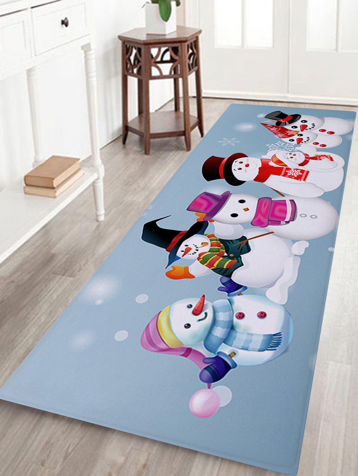 Seven Snowmen Printed Coral Fleece Antislip Bath MatHOME<br><br>Size: W24 INCH * L71 INCH; Color: COLORMIX; Products Type: Bath rugs; Materials: Coral FLeece; Pattern: Snowman; Style: Festival; Shape: Rectangular; Package Contents: 1 x Rug;