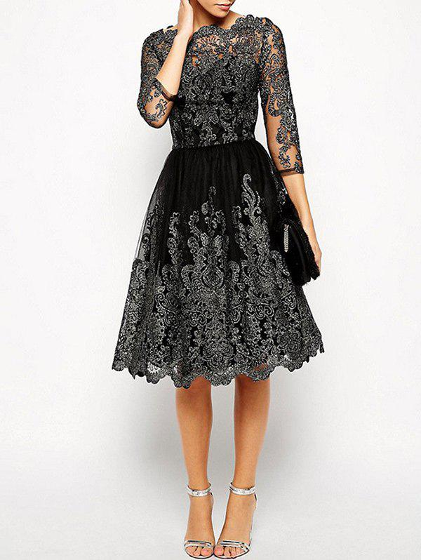 Scalloped See Thru Vintage DressWOMEN<br><br>Size: M; Color: BLACK; Style: Vintage; Material: Polyester; Silhouette: A-Line; Dresses Length: Knee-Length; Neckline: Round Collar; Sleeve Length: 3/4 Length Sleeves; Pattern Type: Others; With Belt: No; Season: Fall,Spring,Winter; Weight: 0.4100kg; Package Contents: 1 x Dress;