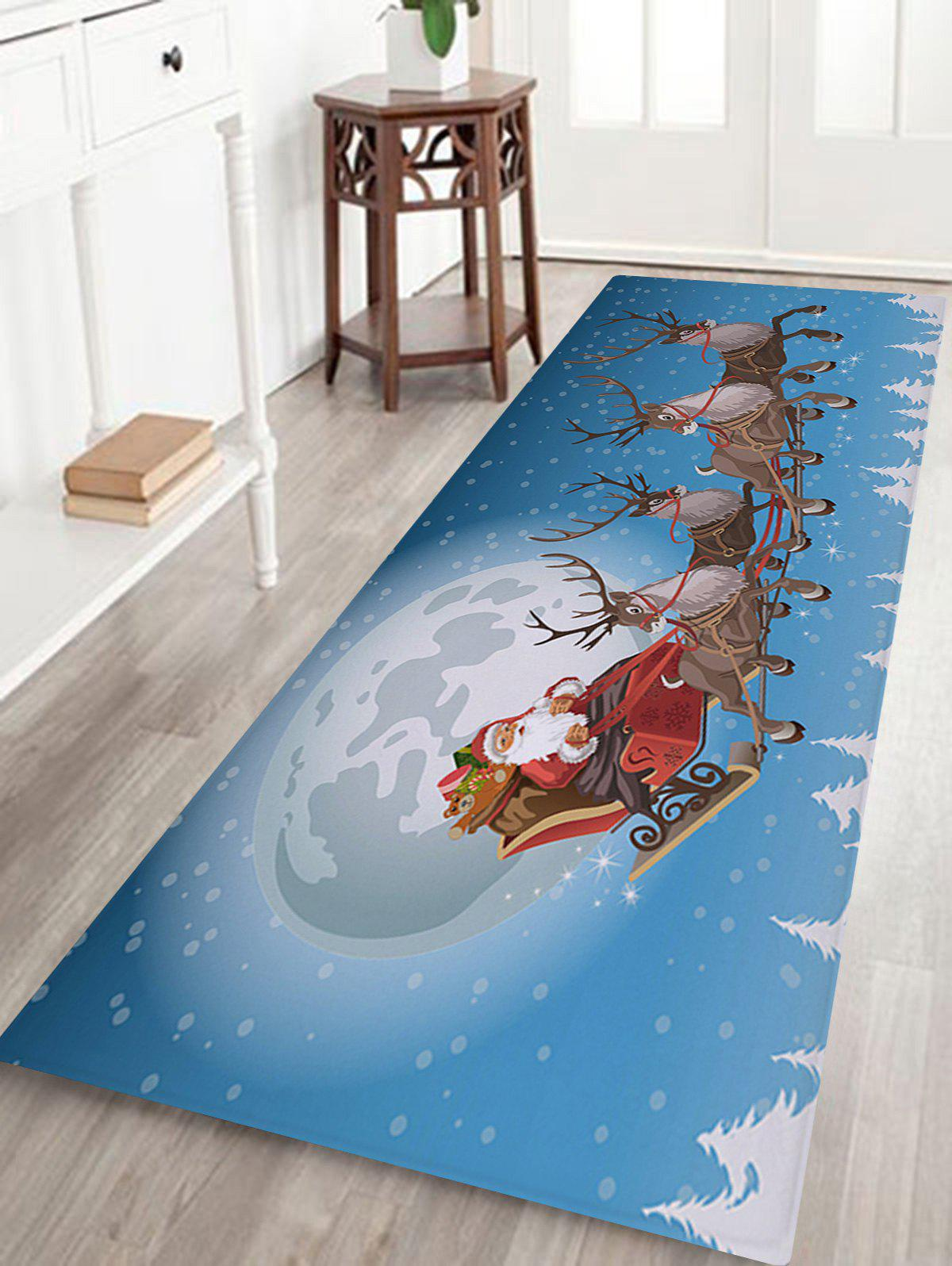 Christmas Moon Sled Print Nonslip Coral Fleece Bath MatHOME<br><br>Size: W24 INCH * L71 INCH; Color: SKY BLUE; Products Type: Bath rugs; Materials: Coral FLeece; Pattern: Elk,Moon,Santa Claus; Style: Festival; Shape: Rectangular; Package Contents: 1 x Rug;