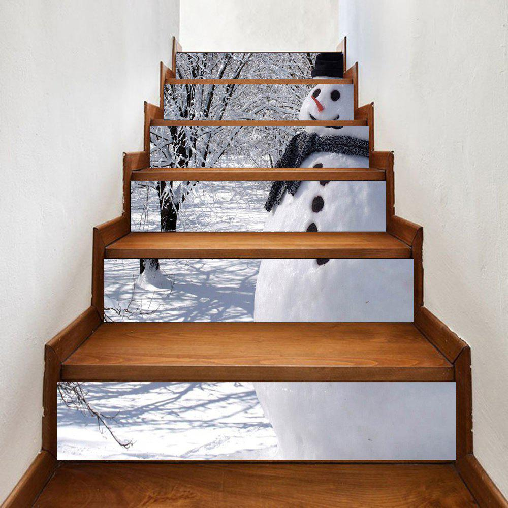 6 Pcs Outdoor Snowman Printed Home Stairs StickersHOME<br><br>Size: 100*18CM*6PCS; Color: WHITE; Wall Sticker Type: 3D Wall Stickers; Functions: Stair Stickers; Theme: Christmas,Holiday,StillLife; Pattern Type: Print; Material: PVC; Feature: Removable; Weight: 0.3500kg; Package Contents: 6 x Stair Stickers;