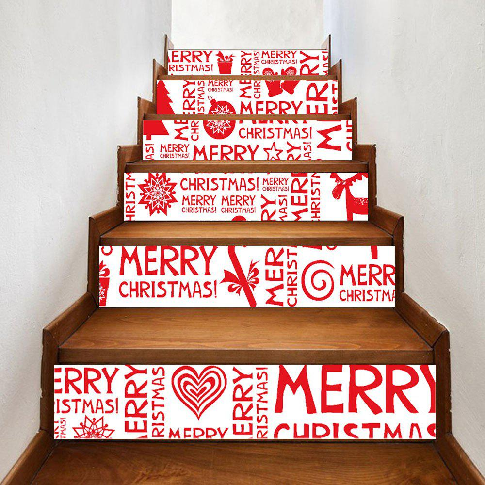 Christmas Letters Ornaments Print Home Stairs Stickers 6pcsHOME<br><br>Size: 100*18CM*6PCS; Color: RED; Wall Sticker Type: Plane Wall Stickers; Functions: Stair Stickers; Theme: Christmas; Pattern Type: Character,Letter,Print; Material: PVC; Feature: Removable; Weight: 0.3500kg; Package Contents: 6 x Stair Stickers;
