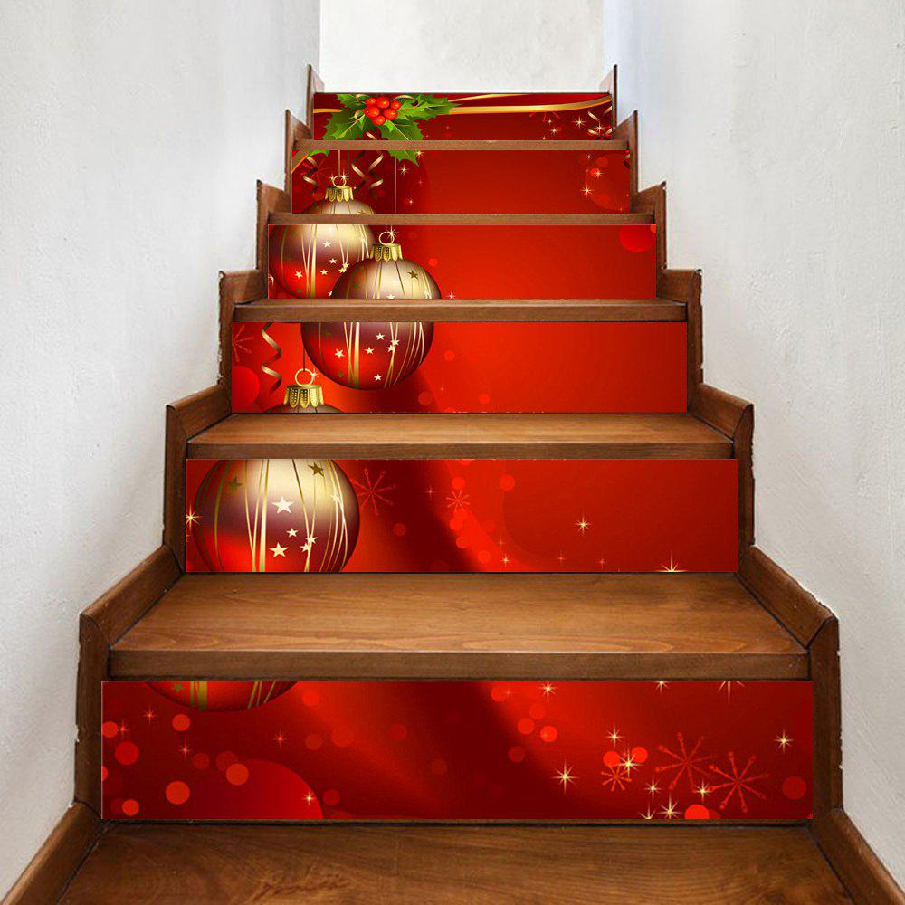 Baubles Christmas Pattern Decorative Stair StickersHOME<br><br>Size: 100*18CM*6PCS; Color: RED; Wall Sticker Type: Plane Wall Stickers; Functions: Stair Stickers; Theme: Christmas; Pattern Type: Ball; Material: PVC; Feature: Removable; Weight: 0.3500kg; Package Contents: 1 x Stair Stickers;