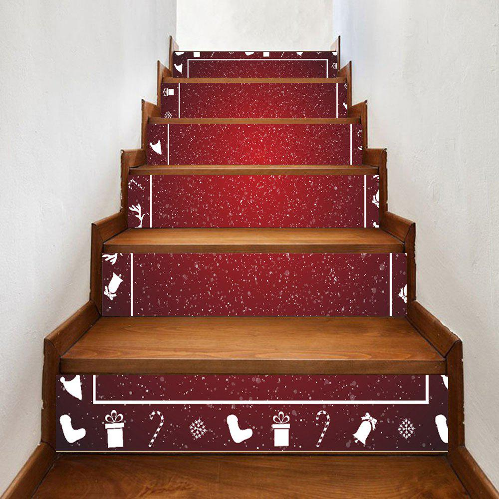 Snowy Christmas Theme Pattern Decorative Stair StickersHOME<br><br>Size: 100*18CM*6PCS; Color: DEEP RED; Wall Sticker Type: Plane Wall Stickers; Functions: Stair Stickers; Theme: Christmas; Pattern Type: Cartoon; Material: PVC; Feature: Removable; Weight: 0.3500kg; Package Contents: 1 x Stair Stickers;