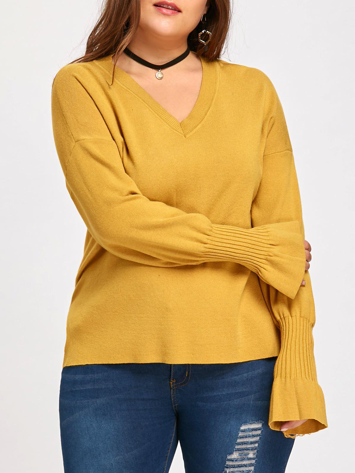 Flounce Plus Size Lantern Sleeve V Neck SweaterWOMEN<br><br>Size: 3XL; Color: YELLOW; Type: Pullovers; Material: Cotton,Polyester; Sleeve Length: Full; Collar: V-Neck; Style: Fashion; Season: Fall,Winter; Pattern Type: Solid; Weight: 0.4600kg; Package Contents: 1 x Sweater;