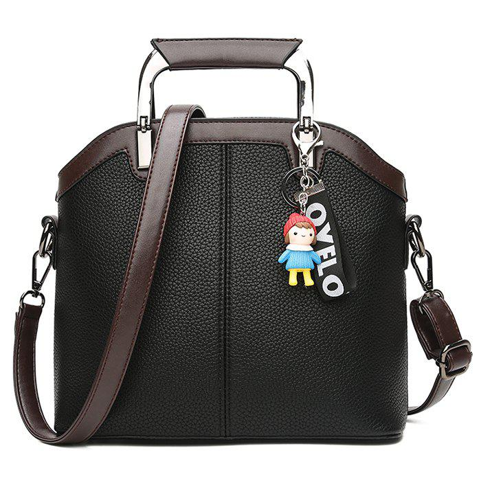Chic Letter Cartoon Pendant Contrasting Color Crossbody Bag