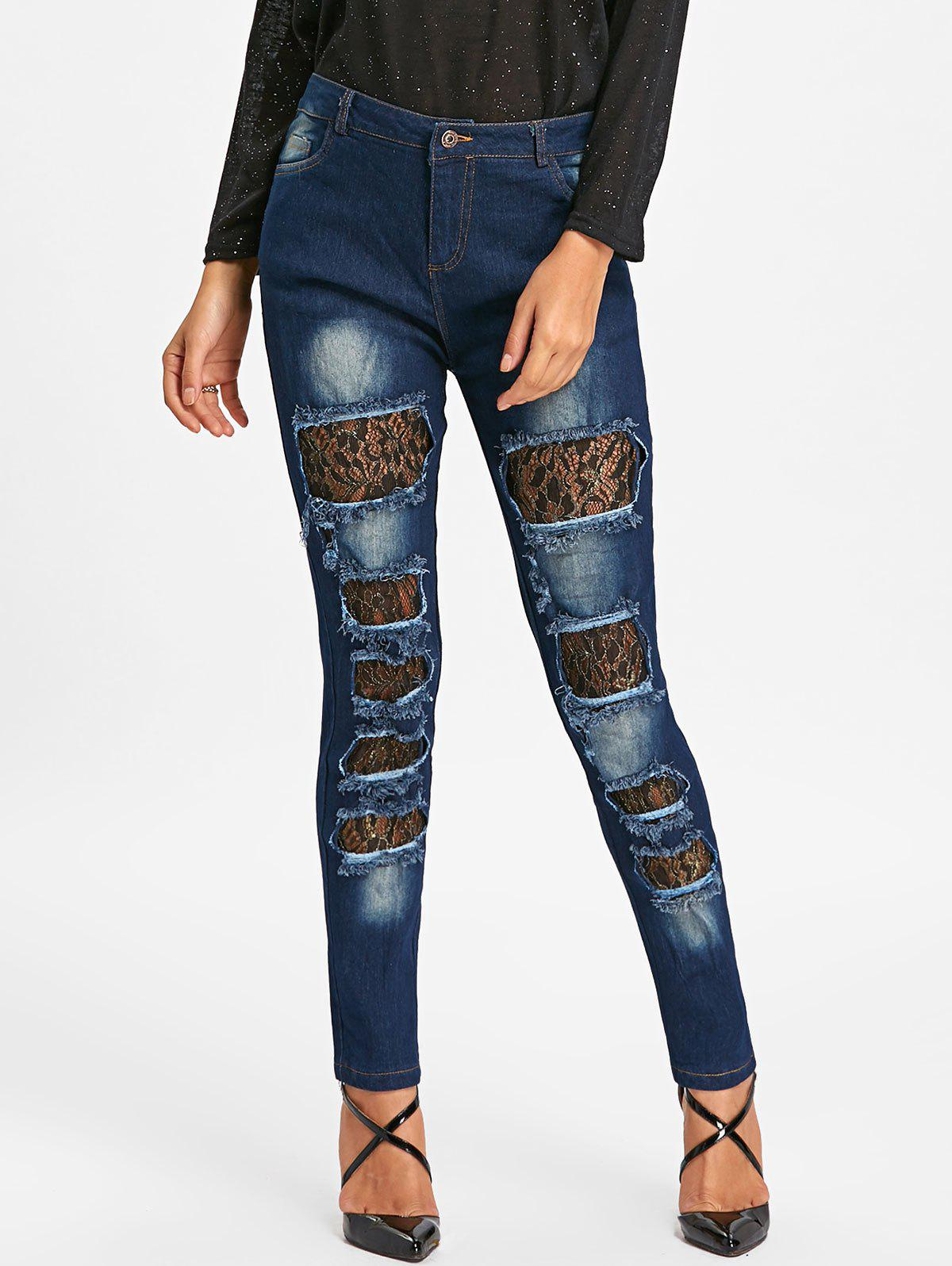 Buy Ripped Lace Insert Denim Jeans