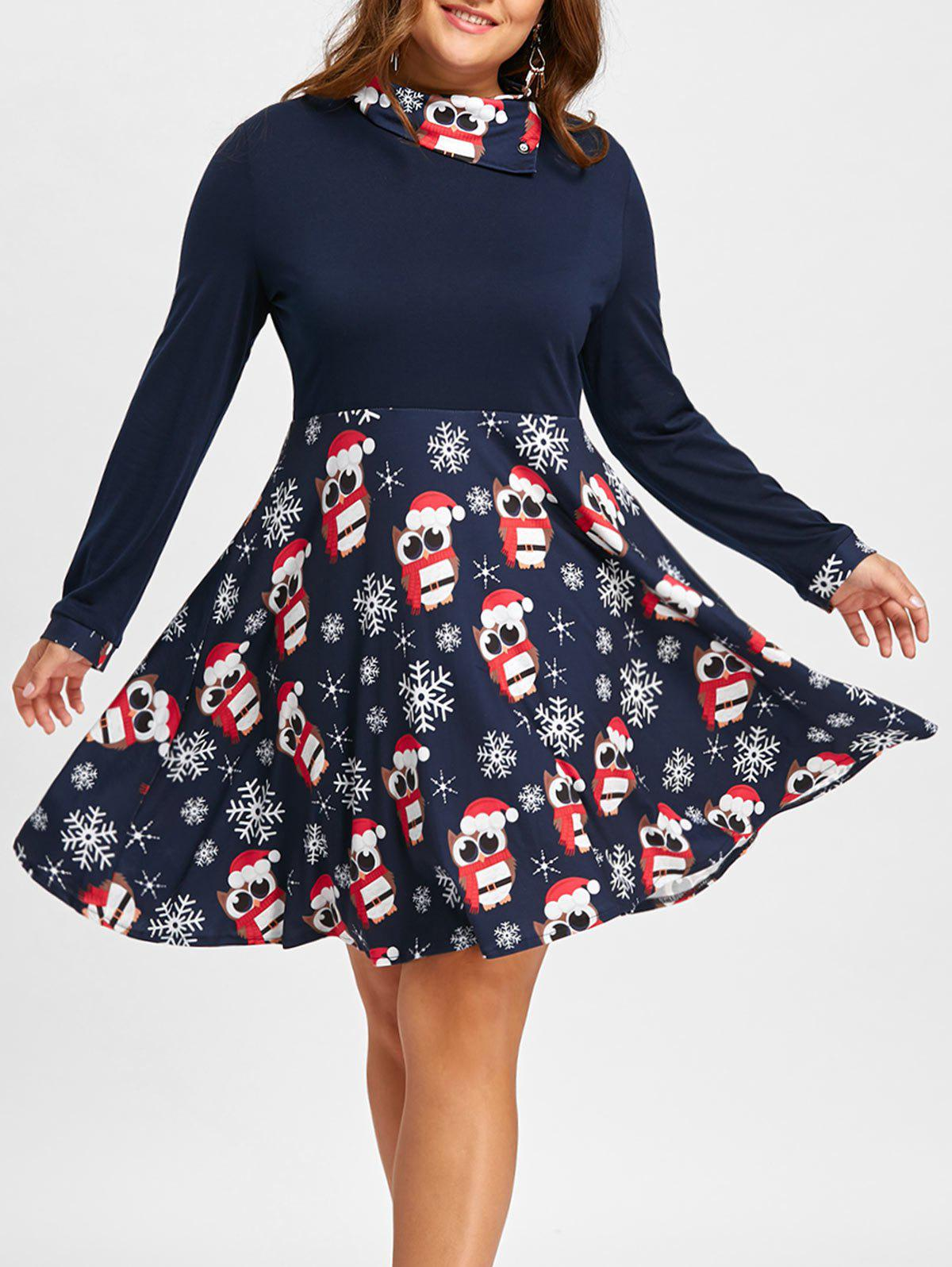 Christmas Owl Snowflake Plus Size Long Sleeve DressWOMEN<br><br>Size: 3XL; Color: BLUE; Style: Cute; Material: Polyester,Spandex; Silhouette: A-Line; Dresses Length: Mini; Neckline: Mock Neck; Sleeve Length: Long Sleeves; Pattern Type: Skull; With Belt: No; Season: Fall,Spring; Weight: 0.4200kg; Package Contents: 1 x Dress;