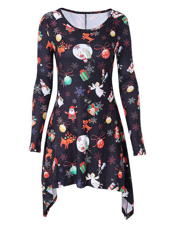 Christmas Snowflake Elk Print Mini Swing DressWOMEN<br><br>Size: S; Color: BLACK; Style: Brief; Material: Polyester,Spandex; Silhouette: Asymmetrical; Dresses Length: Mini; Neckline: Scoop Neck; Sleeve Length: Long Sleeves; Pattern Type: Print; With Belt: No; Season: Fall,Spring; Weight: 0.3000kg; Package Contents: 1 x Dress;