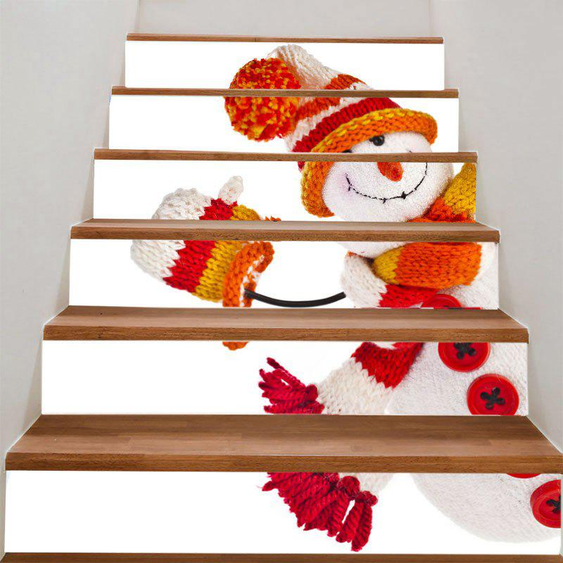 Christmas Snowman Doll Printed DIY Stair StickersHOME<br><br>Size: 100*18CM*6PCS; Color: COLORFUL; Wall Sticker Type: Plane Wall Stickers; Functions: Stair Stickers; Theme: Christmas; Pattern Type: Snowman; Material: PVC; Feature: Removable; Weight: 0.3100kg; Package Contents: 1 x Stair Stickers (Set);