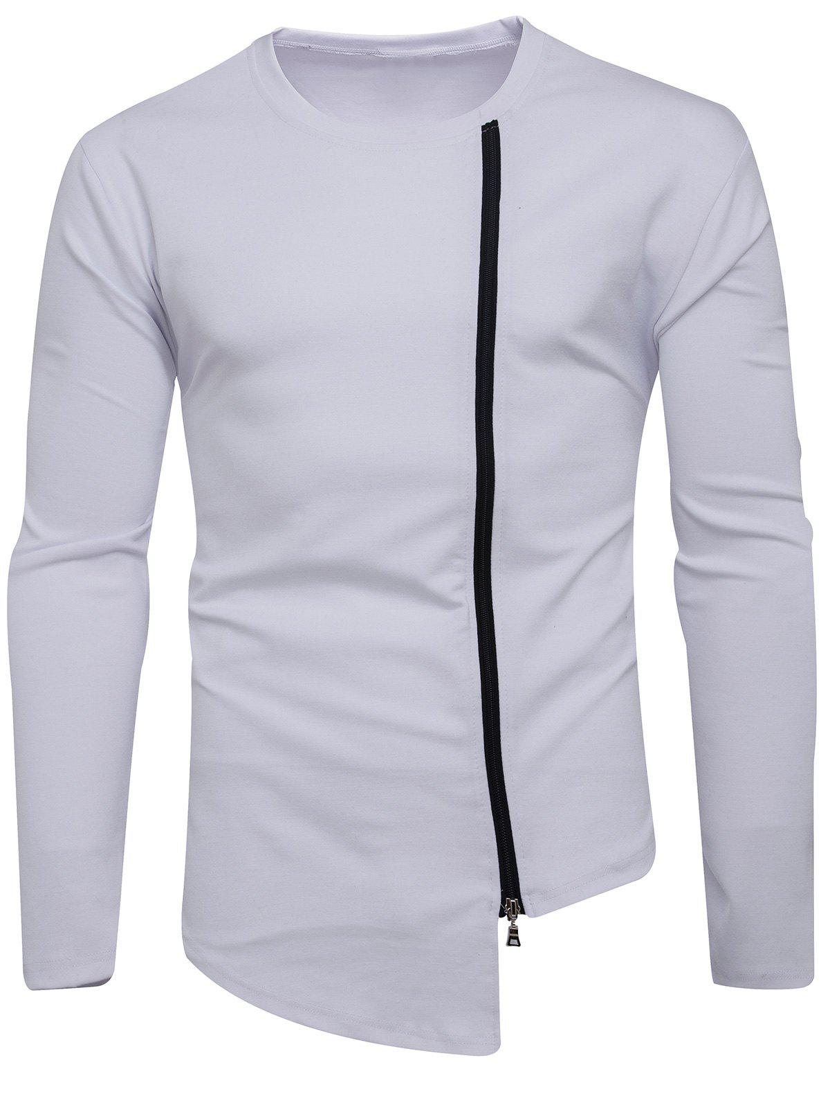 Buy Oblique Zip Up Asymmetric T-shirt