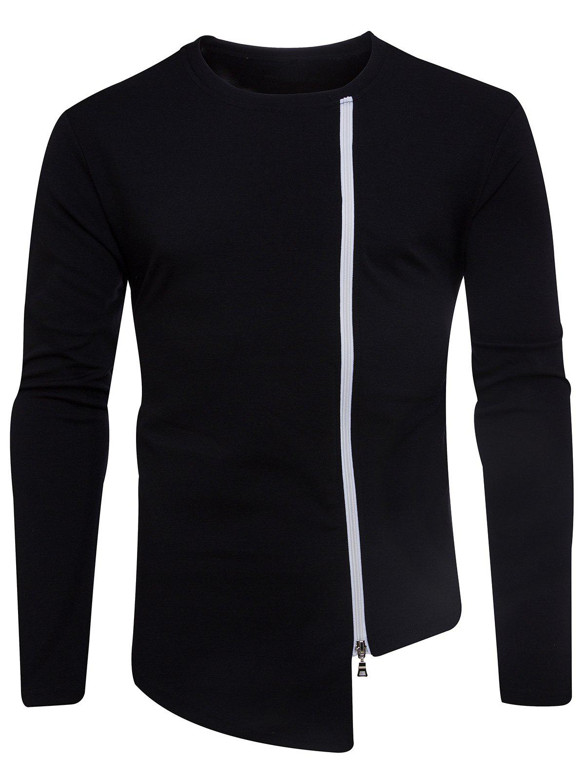 Unique Oblique Zip Up Asymmetric T-shirt