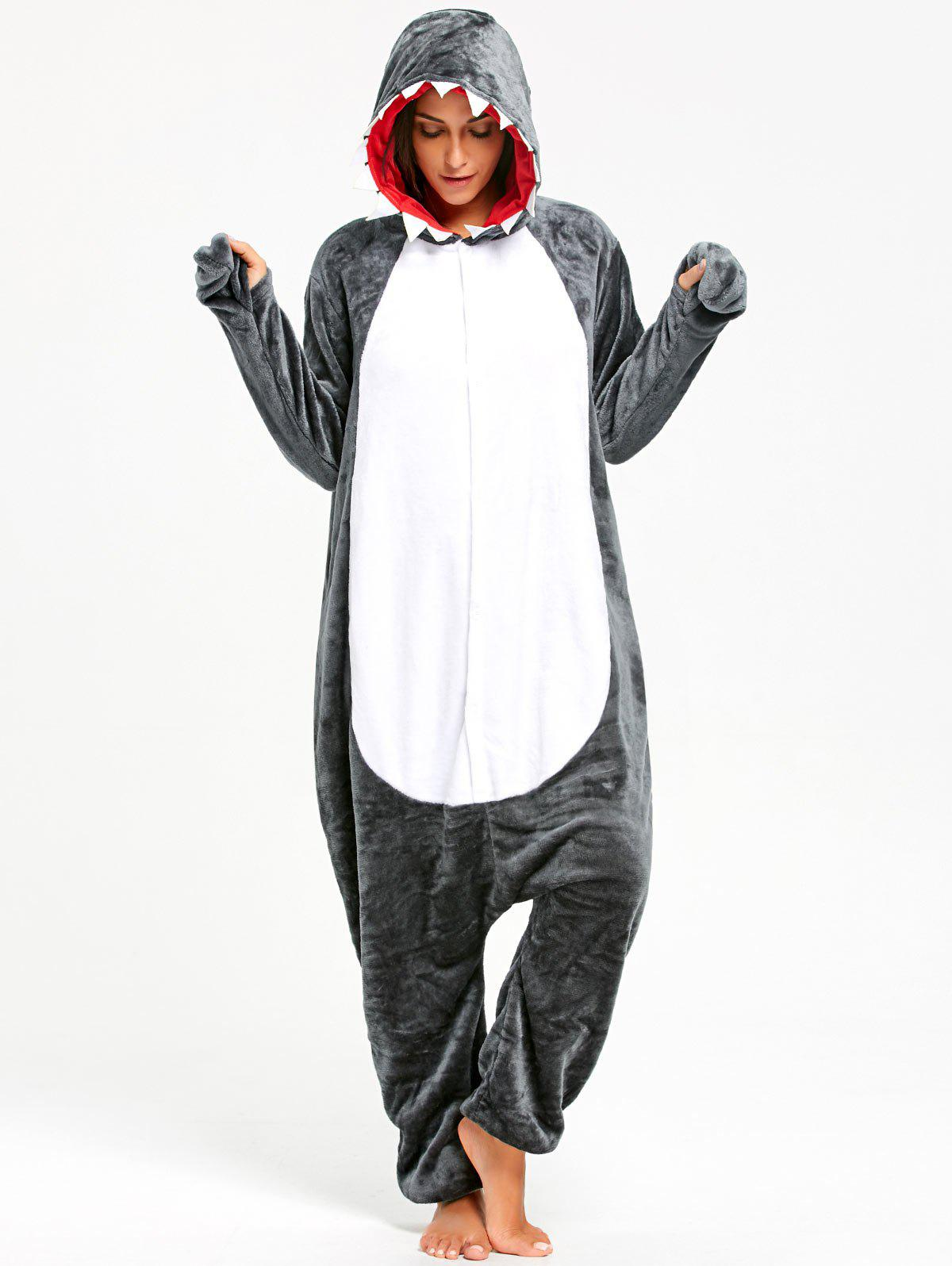 Shark Animal Onesie Pajama Costume for AdultWOMEN<br><br>Size: S; Color: DARK GRAY; Material: Polyester; Fabric Type: Fleece; Pattern Type: Animal; Weight: 0.5100kg; Package Contents: 1 x Onesie Pajama;