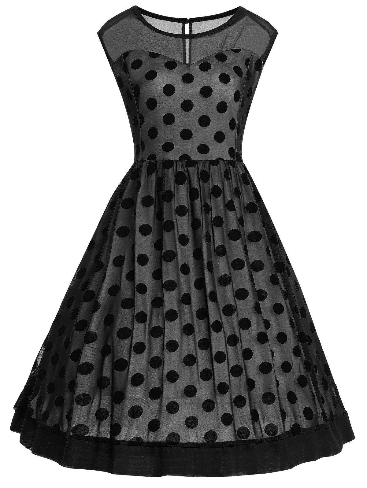 Polka Dot Sleeveless Vintage Plus Size DressWOMEN<br><br>Size: 3XL; Color: BLACK; Style: Vintage; Material: Polyester; Silhouette: A-Line; Dresses Length: Knee-Length; Neckline: Round Collar; Sleeve Length: Sleeveless; Pattern Type: Polka Dot; With Belt: No; Season: Fall,Spring,Summer,Winter; Weight: 0.3900kg; Package Contents: 1 x Dress;