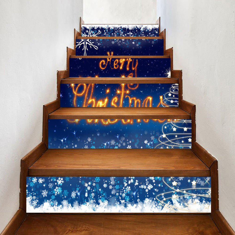 Merry Christmas Pattern Decorative Stair StickersHOME<br><br>Size: 100*18CM*6PCS; Color: DEEP BLUE; Wall Sticker Type: Plane Wall Stickers; Functions: Stair Stickers; Pattern Type: Letter; Material: PVC; Feature: Removable; Weight: 0.3500kg; Package Contents: 1 x Stair Stickers;