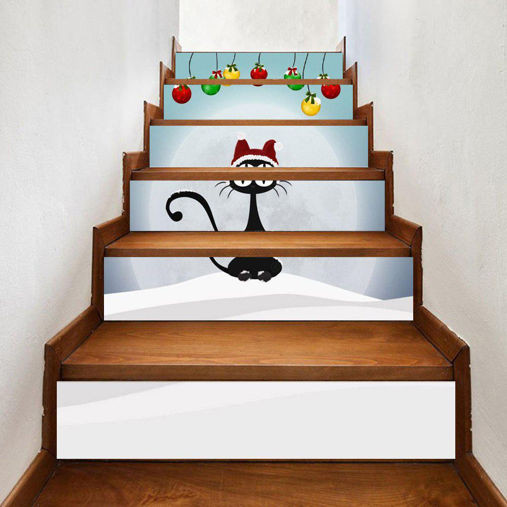 6 Pcs Black Cat Print Christmas Home Stairs StickersHOME<br><br>Size: 100*18CM*6PCS; Color: COLORMIX; Wall Sticker Type: Plane Wall Stickers; Functions: Stair Stickers; Theme: Christmas,Holiday; Pattern Type: Cartoon; Material: PVC; Feature: Removable; Weight: 0.3500kg; Package Contents: 6 x Stair Stickers;