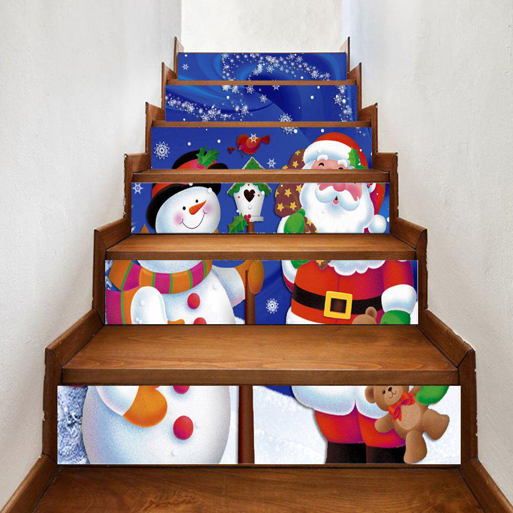 Santa Claus Snowman Print Home Stairs Stickers 6pcsHOME<br><br>Size: 100*18CM*6PCS; Color: COLORMIX; Wall Sticker Type: Plane Wall Stickers; Functions: Stair Stickers; Theme: Christmas; Pattern Type: Print,Snowman; Material: PVC; Feature: Removable; Weight: 0.3500kg; Package Contents: 6 x Stair Stickers;
