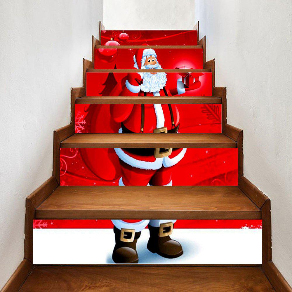 Santa Claus Send Gifts Print Home Stairs Stickers 6pcsHOME<br><br>Size: 100*18CM*6PCS; Color: RED; Wall Sticker Type: Plane Wall Stickers; Functions: Stair Stickers; Theme: Christmas; Pattern Type: Print; Material: PVC; Feature: Removable; Weight: 0.3500kg; Package Contents: 6 x Stair Stickers;