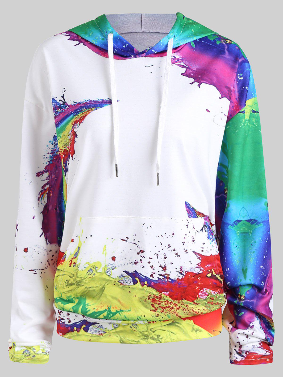 Plus Size Rainbow Oil Painting Kangaroo HoodieWOMEN<br><br>Size: 2XL; Color: WHITE; Material: Cotton Blend,Polyester; Shirt Length: Regular; Sleeve Length: Full; Style: Fashion; Pattern Style: Print; Embellishment: Front Pocket; Season: Fall,Winter; Weight: 0.4500kg; Package Contents: 1 x Hoodie;