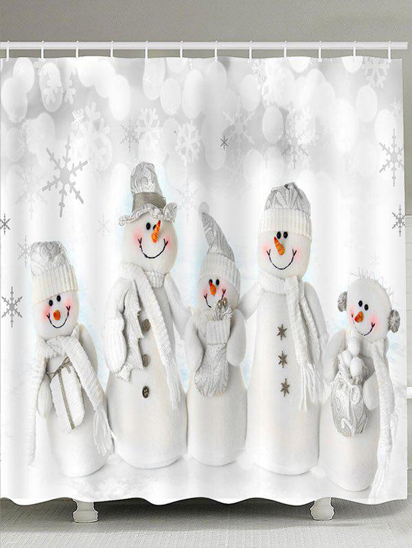 Snowmen Family Pattern Shower CurtainHOME<br><br>Size: W71 INCH * L71 INCH; Color: WHITE; Products Type: Shower Curtains; Materials: Polyester; Pattern: Snowman; Style: Festival; Number of Hook Holes: W59 inch * L71 inch:10, W71 inch * L71 inch:12, W71 inch * L79 inch:12; Package Contents: 1 x Shower Curtain 1 x Hooks (Set);