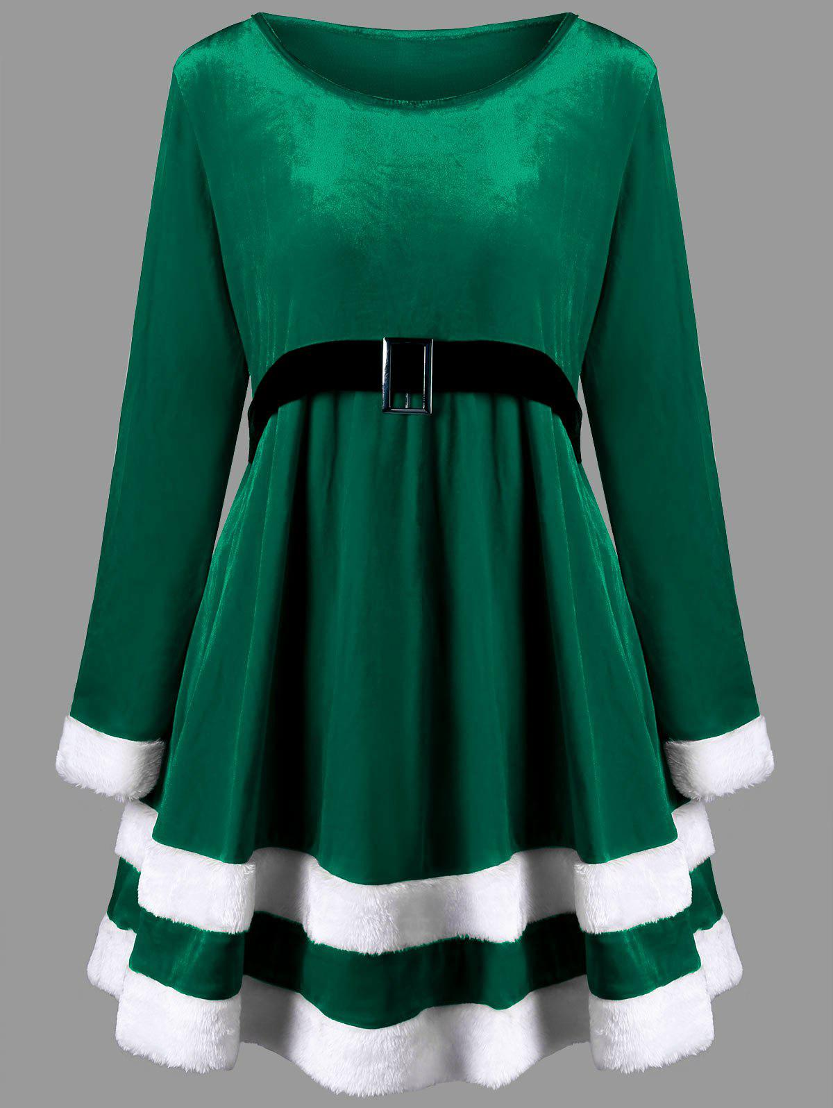 Christmas Plus Size Long Sleeve Velvet DressWOMEN<br><br>Size: 3XL; Color: GREEN; Style: Casual; Material: Polyester; Silhouette: A-Line; Dresses Length: Mini; Neckline: Round Collar; Sleeve Length: Long Sleeves; Pattern Type: Others; With Belt: No; Season: Fall,Spring; Weight: 0.6150kg; Package Contents: 1 x Dress;