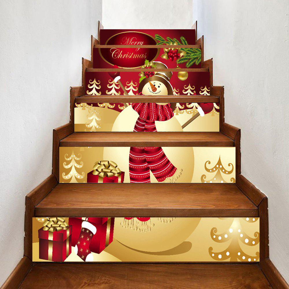Christmas Happy Snowman Print Home Stairs Stickers 6pcsHOME<br><br>Size: 100*18CM*6PCS; Color: RED; Wall Sticker Type: Plane Wall Stickers; Functions: Stair Stickers; Theme: Christmas; Pattern Type: Print; Material: PVC; Feature: Removable; Weight: 0.3500kg; Package Contents: 6 x Stair Stickers;