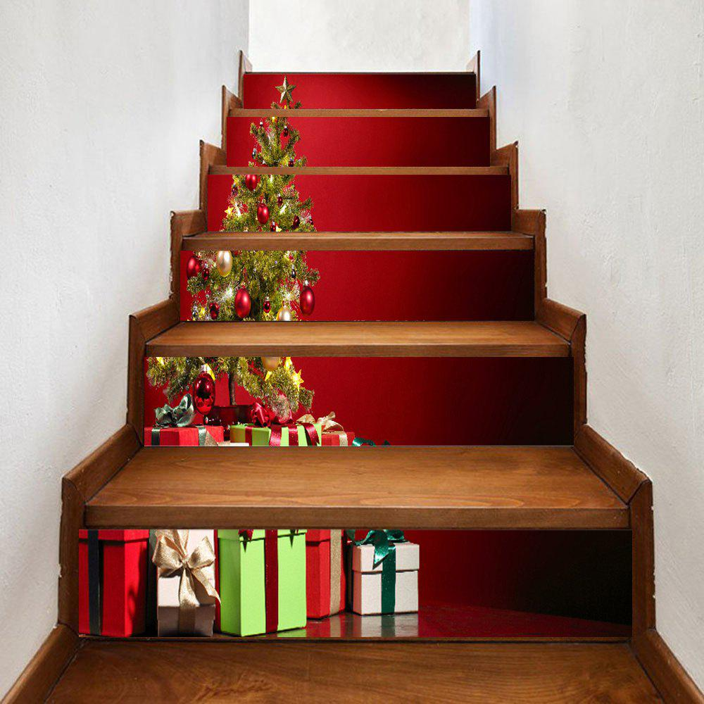 Christmas Tree Print Home Stairs Stickers 6pcsHOME<br><br>Size: 100*18CM*6PCS; Color: RED; Wall Sticker Type: Plane Wall Stickers; Functions: Stair Stickers; Theme: Christmas; Pattern Type: Print; Material: PVC; Feature: Removable; Weight: 0.3500kg; Package Contents: 6 x Stair Stickers;