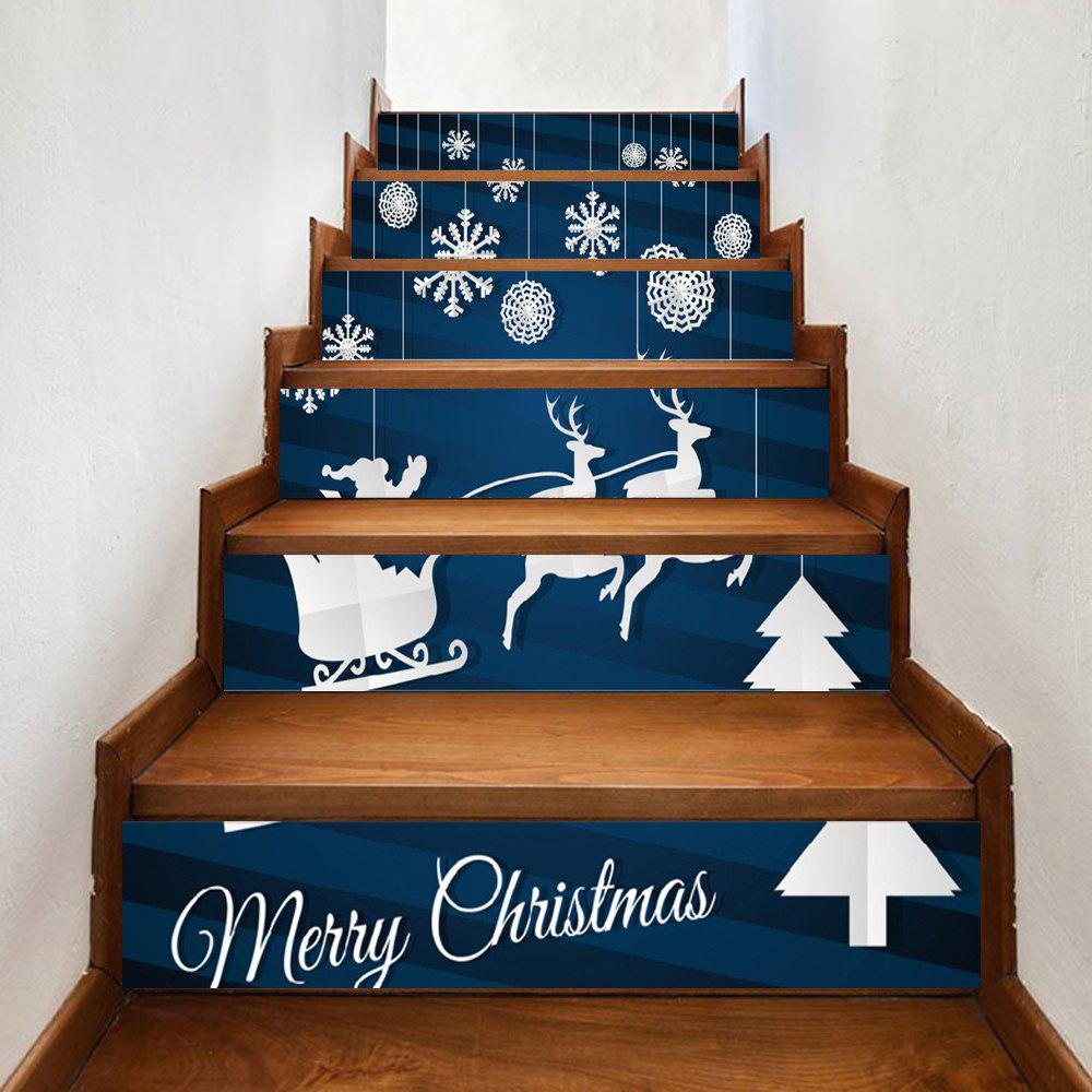 Christmas Elk Smowflake Print Home Stairs Stickers 6pcsHOME<br><br>Size: 100*18CM*6PCS; Color: DEEP BLUE; Wall Sticker Type: Plane Wall Stickers; Functions: Stair Stickers; Theme: Christmas; Pattern Type: Print; Material: PVC; Feature: Removable; Weight: 0.3500kg; Package Contents: 6 x Stair Stickers;
