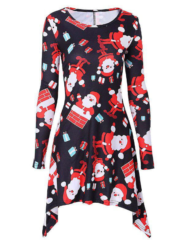 Outfits Santa Claus Printed Christmas Mini Swing Dress