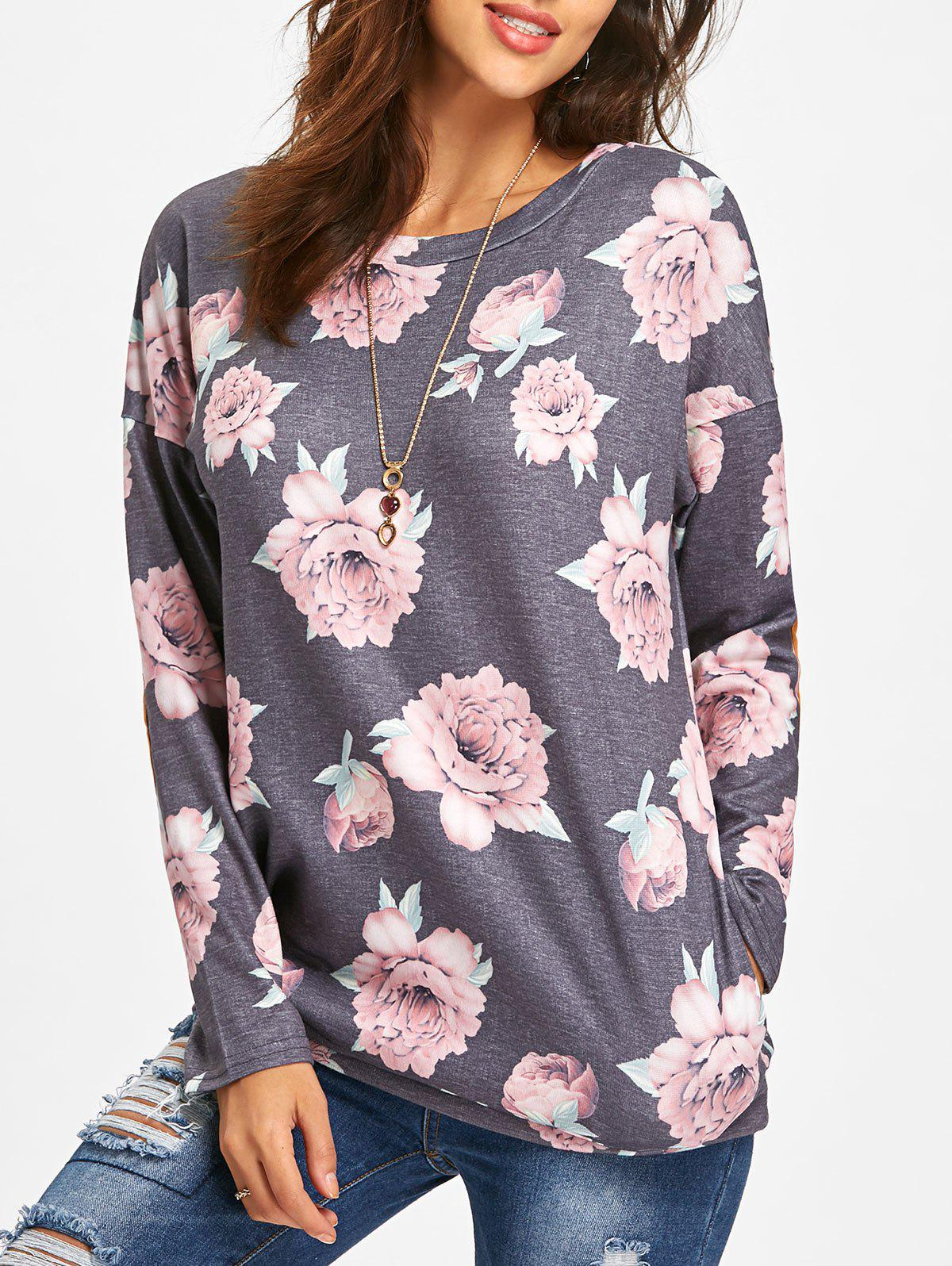 Elbow Patch Long Sleeve Floral Tunic TopWOMEN<br><br>Size: L; Color: GRAY; Material: Polyester,Spandex; Shirt Length: Regular; Sleeve Length: Full; Collar: Scoop Neck; Style: Casual; Pattern Type: Floral; Season: Fall,Spring; Weight: 0.3500kg; Package Contents: 1 x Top;