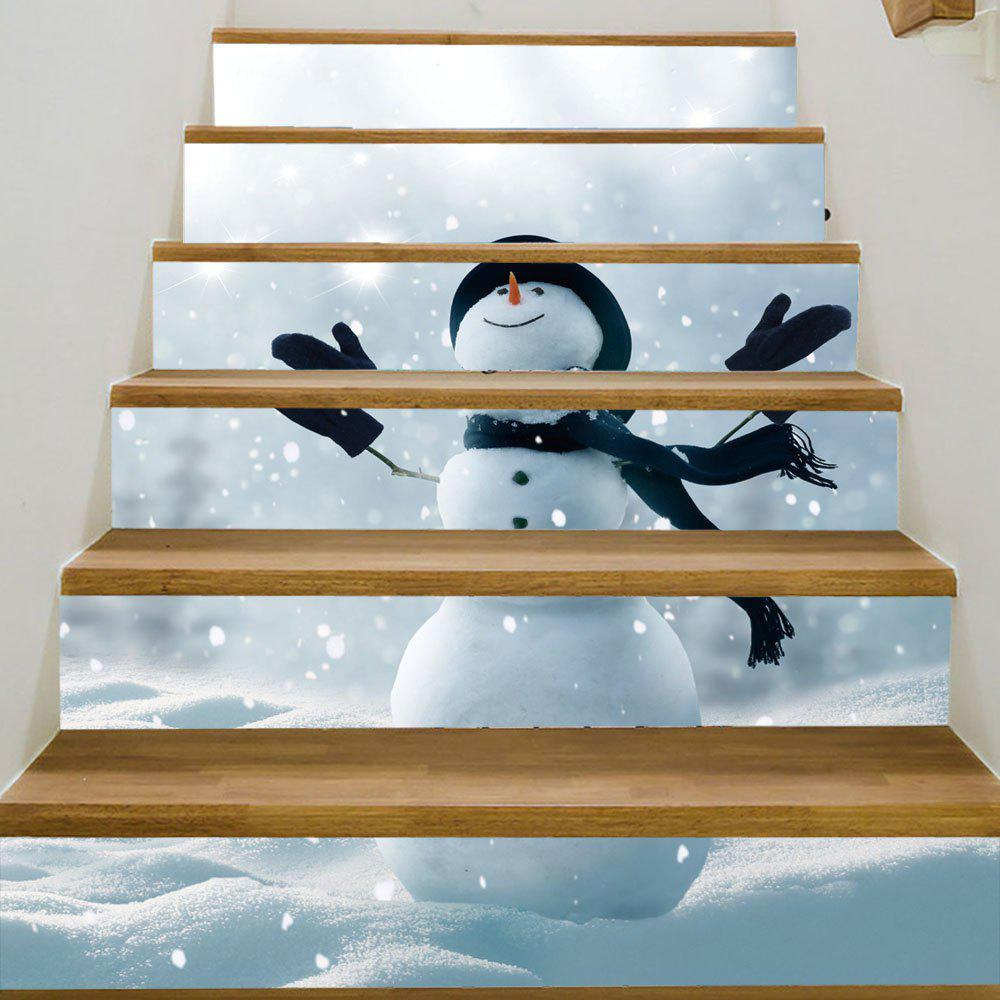 Christmas Snowy Snowman Pattern Decorative Stair StickersHOME<br><br>Size: 100*18CM*6PCS; Color: GREY WHITE; Wall Sticker Type: Plane Wall Stickers; Functions: Stair Stickers; Theme: Christmas; Pattern Type: Snowman; Material: PVC; Feature: Removable; Weight: 0.3600kg; Package Contents: 1 x Stair Stickers;