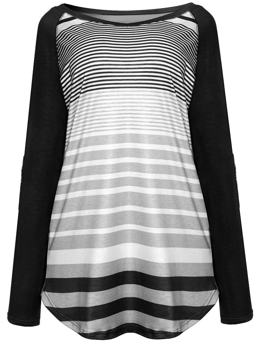 Raglan Sleeve Elbow Patch Striped TopWOMEN<br><br>Size: M; Color: BLACK; Material: Polyester; Shirt Length: Regular; Sleeve Length: Full; Collar: Boat Neck; Style: Fashion; Pattern Type: Striped; Season: Fall,Spring; Weight: 0.2900kg; Package Contents: 1 x Top;