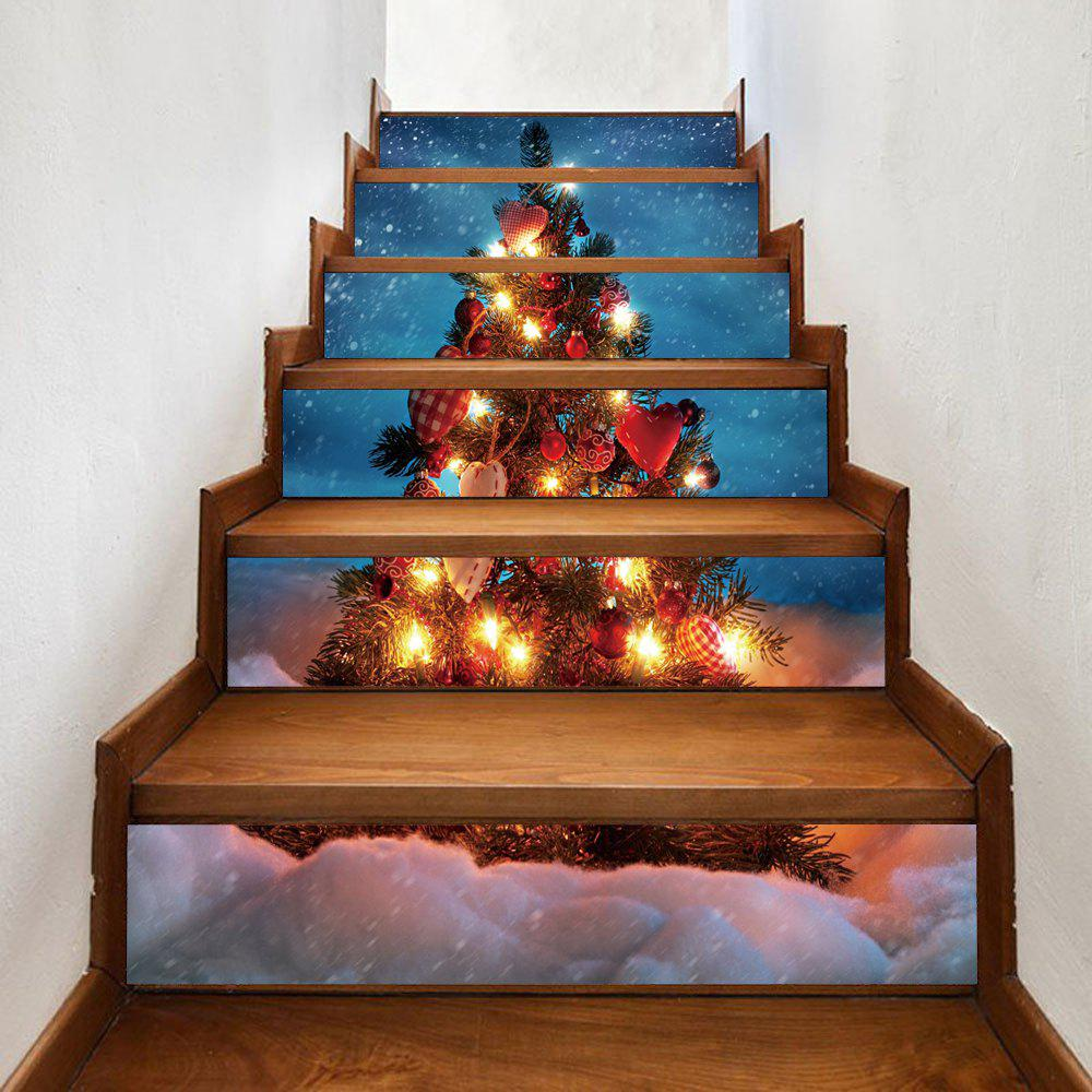 Snowy Christmas Tree Pattern Decorative Stair StickersHOME<br><br>Size: 100*18CM*6PCS; Color: COLORMIX; Wall Sticker Type: Plane Wall Stickers; Functions: Stair Stickers; Theme: Christmas; Pattern Type: Christmas Tree; Material: PVC; Feature: Removable; Weight: 0.3600kg; Package Contents: 1 x Stair Stickers;