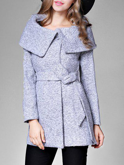 Unique High Waisted Tweed Coat with Belt