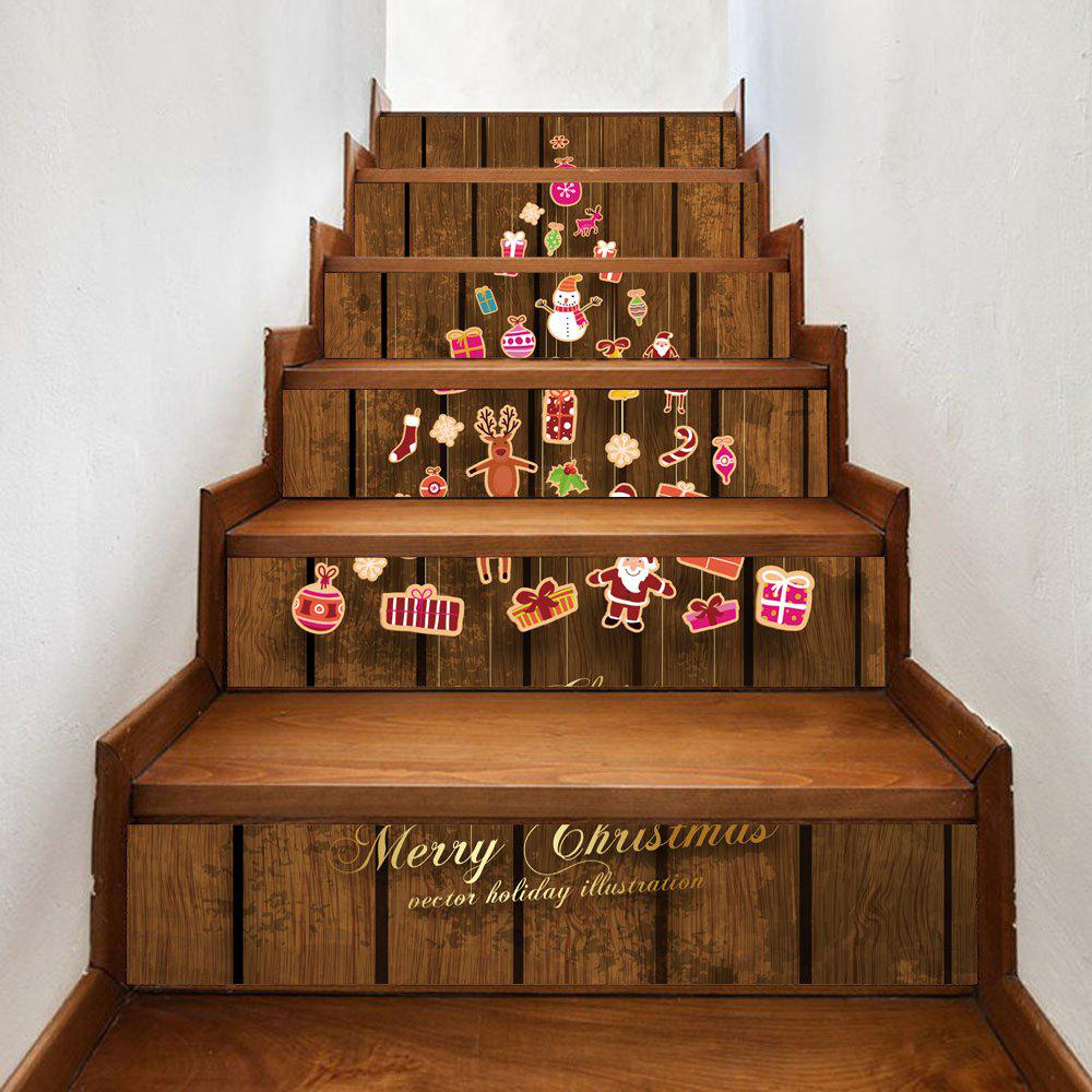 Christmas Cartoon Theme Pattern Decorative Stair StickersHOME<br><br>Size: 100*18CM*6PCS; Color: BROWN; Wall Sticker Type: Plane Wall Stickers; Functions: Stair Stickers; Theme: Christmas; Pattern Type: Cartoon,Letter; Material: PVC; Feature: Removable; Weight: 0.3600kg; Package Contents: 1 x Stair Stickers;