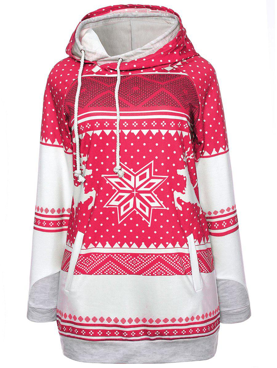 Ugly Christmas Elk Snowflake HoodieWOMEN<br><br>Size: M; Color: RED; Material: Polyester; Shirt Length: Long; Sleeve Length: Full; Style: Fashion; Pattern Style: Others; Season: Fall,Spring; Weight: 0.5500kg; Package Contents: 1 x Hoodie;