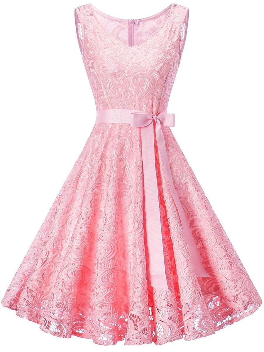 Sleeveless V Neck Lace Party DressWOMEN<br><br>Size: XL; Color: PINK; Style: Brief; Material: Polyester; Silhouette: A-Line; Dresses Length: Knee-Length; Neckline: V-Neck; Sleeve Length: Sleeveless; Pattern Type: Paisley; With Belt: Yes; Season: Fall,Spring; Weight: 0.5000kg; Package Contents: 1 x Dress  1 x Belt; Occasion: Bridesmaid,Cocktail &amp; Party,Night Out,Pageant Dresses,Party;