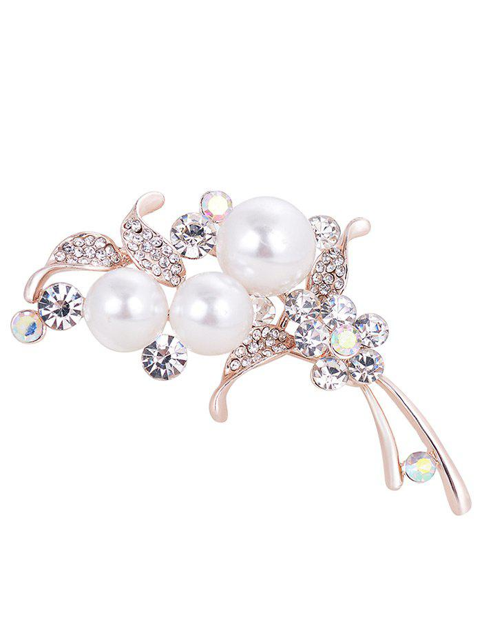 Online Vintage Faux Pearl and Rhinestone Embellished Brooch