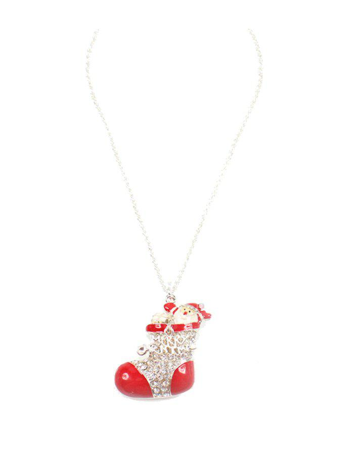 Rhinestone Christmas Shoe Santa Sweater ChainJEWELRY<br><br>Color: RED; Gender: For Women; Necklace Type: Link Chain; Material: Rhinestone; Style: Trendy; Shape/Pattern: Geometric; Length: 82CM; Weight: 0.0300kg; Package Contents: 1 x Sweater Chain;