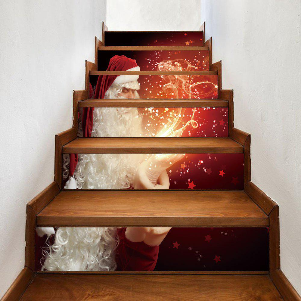 Christmas Santa Magic Pattern Decorative Stair StickersHOME<br><br>Size: 100*18CM*6PCS; Color: COLORMIX; Wall Sticker Type: Plane Wall Stickers; Functions: Stair Stickers; Theme: Christmas; Pattern Type: Santa Claus; Material: PVC; Feature: Removable; Weight: 0.3600kg; Package Contents: 1 x Stair Stickers;