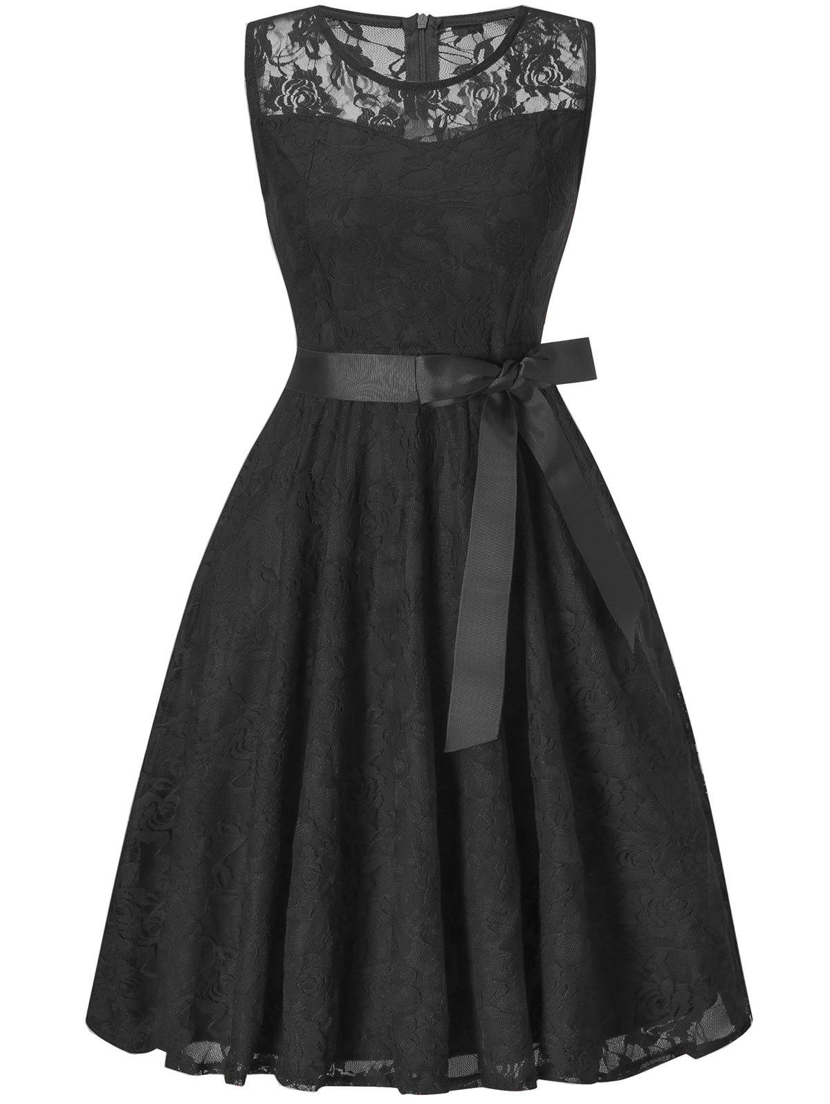 Sleeveless Swing Lace Party DressWOMEN<br><br>Size: XL; Color: BLACK; Style: Brief; Material: Polyester; Silhouette: A-Line; Dresses Length: Knee-Length; Neckline: Round Collar; Sleeve Length: Sleeveless; Embellishment: Bowknot; Pattern Type: Floral; With Belt: Yes; Season: Fall,Spring; Weight: 0.3500kg; Package Contents: 1 x Dress  1 x Belt; Occasion: Bridesmaid,Cocktail &amp; Party,Evening,Night Out,Pageant Dresses,Party;