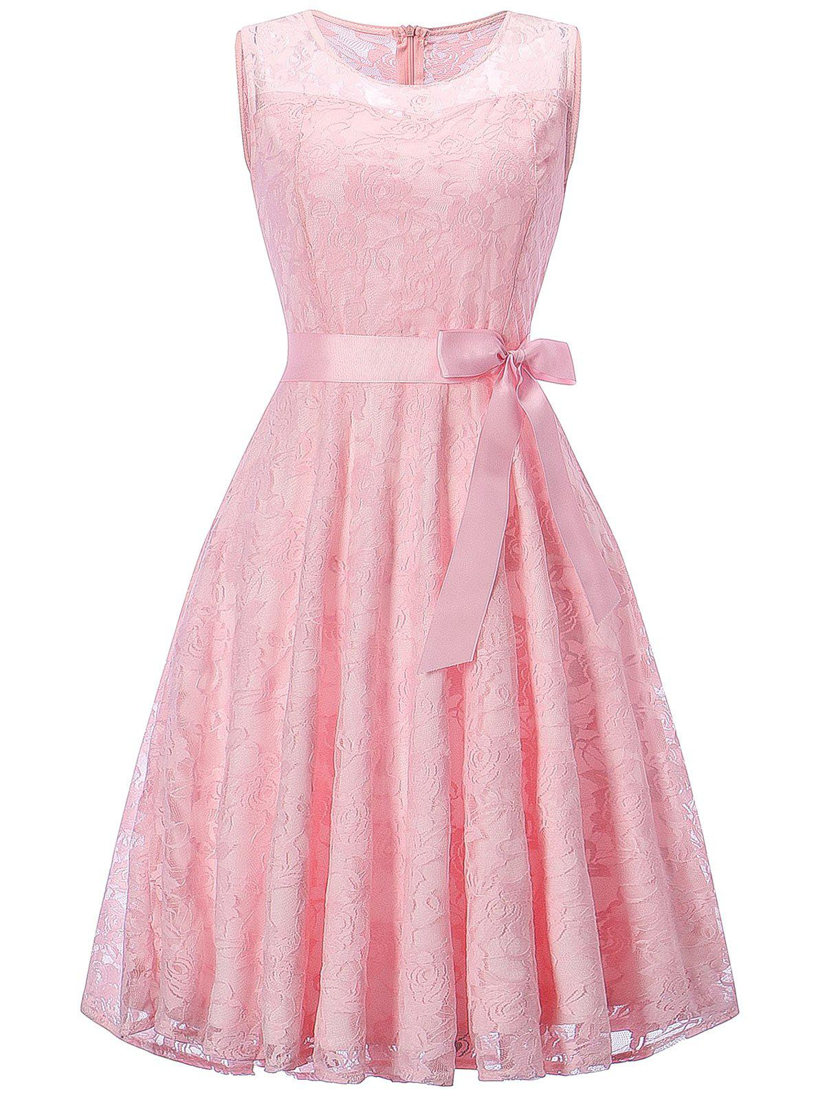 Sleeveless Swing Lace Party DressWOMEN<br><br>Size: 2XL; Color: PINK; Style: Brief; Material: Polyester; Silhouette: A-Line; Dresses Length: Knee-Length; Neckline: Round Collar; Sleeve Length: Sleeveless; Embellishment: Bowknot; Pattern Type: Floral; With Belt: Yes; Season: Fall,Spring; Weight: 0.3500kg; Package Contents: 1 x Dress  1 x Belt; Occasion: Bridesmaid,Cocktail &amp; Party,Evening,Night Out,Pageant Dresses,Party;