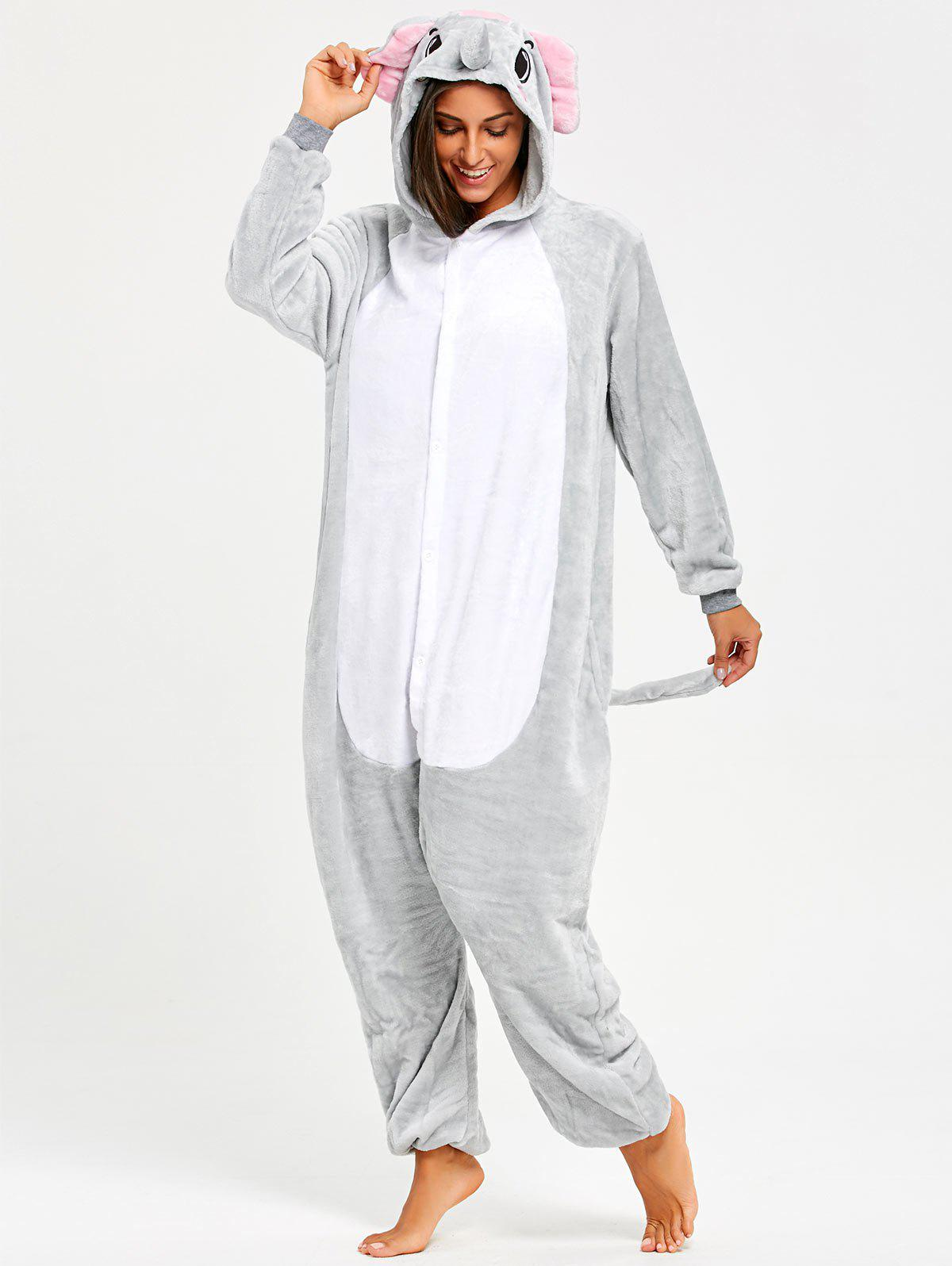 Cartoon Elephant Animal Onesie Pjs CostumeWOMEN<br><br>Size: S; Color: GRAY; Material: Polyester; Fabric Type: Fleece; Pattern Type: Animal; Weight: 0.5000kg; Package Contents: 1 x Onesie  Pajama;