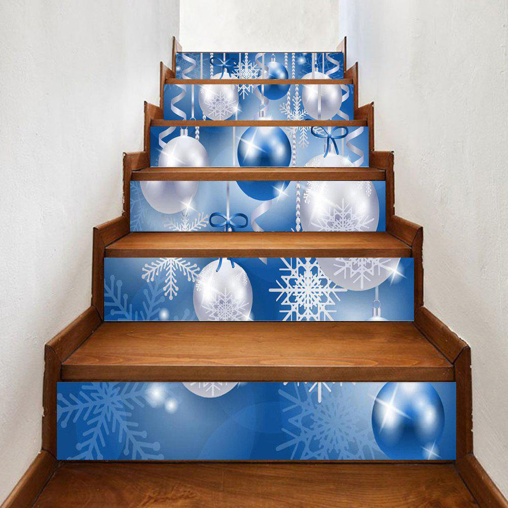 Christmas Baubles Snowflake Pattern Decorative Stair StickersHOME<br><br>Size: 100*18CM*6PCS; Color: COLORMIX; Wall Sticker Type: Plane Wall Stickers; Functions: Stair Stickers; Theme: Christmas; Pattern Type: Ball; Material: PVC; Feature: Removable; Weight: 0.3500kg; Package Contents: 1 x Stair Stickers;