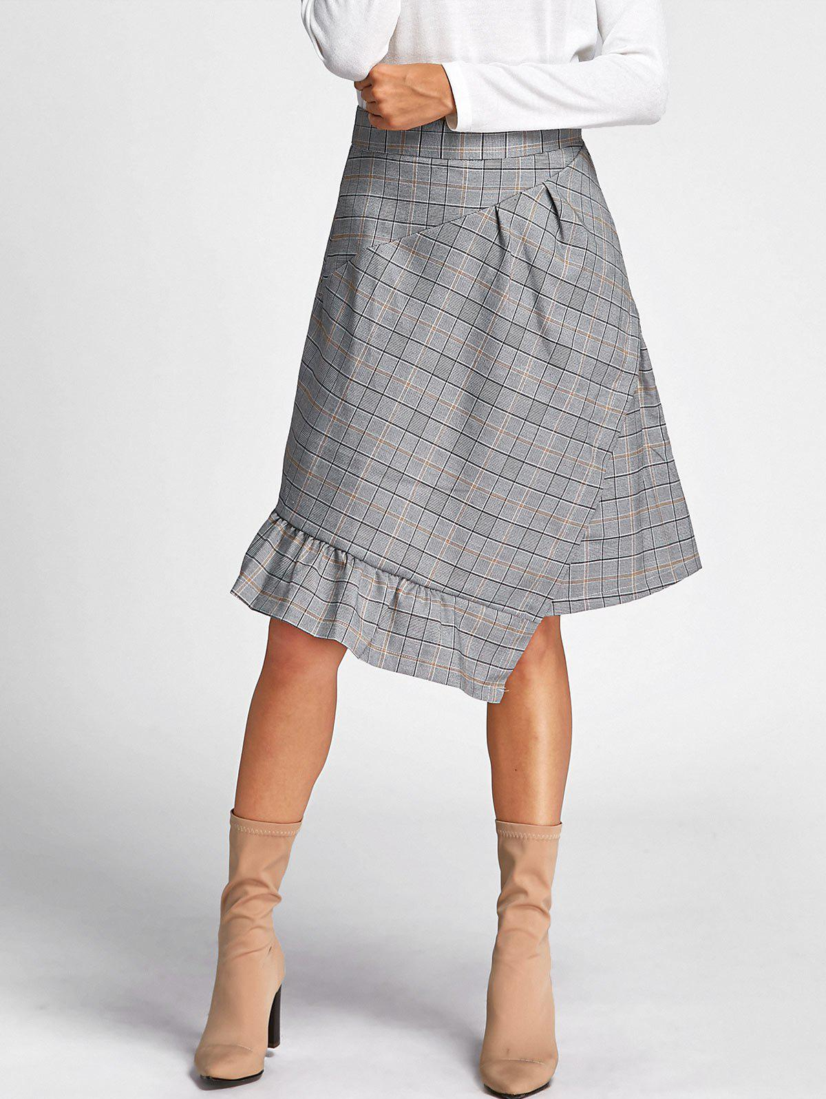 Shops Midi Plaid Asymmetrical Skirt